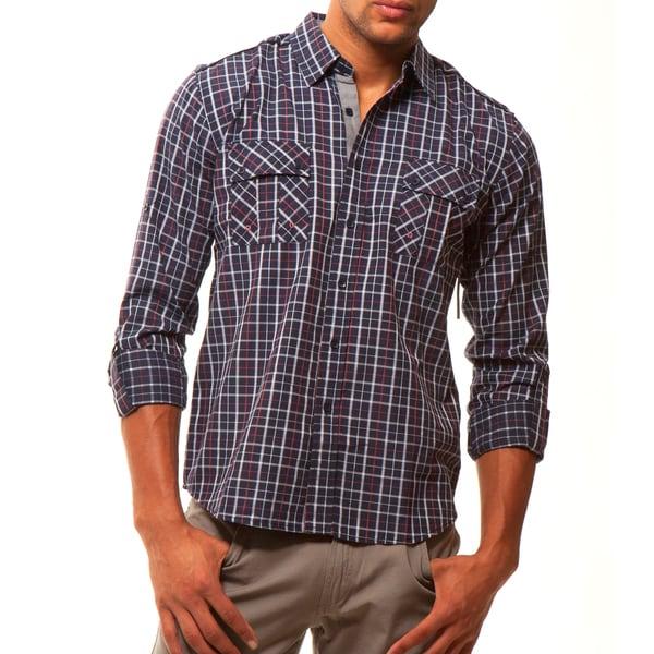 191 Unlimited Men's Navy Plaid Woven Shirt