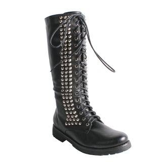 Neway by Beston Women's 'Camila-01' Black Studded Combat Boots ...