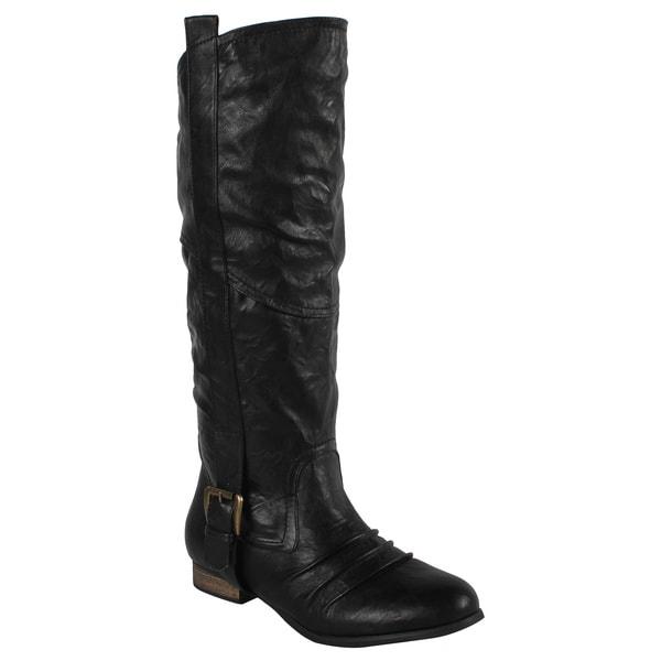 Liliana by Beston Women's 'Marsala' Black Riding Boots