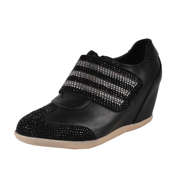 Liliana by Beston Women's 'Kris' Black Rhinestone Accented Sneakers
