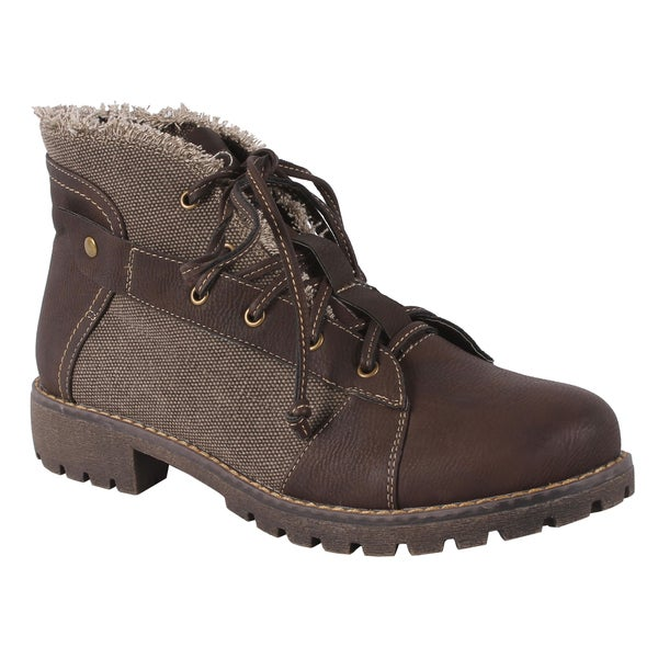 Pinky Women's 'Atlanta-26' Brown Lace-up Ankle Boots