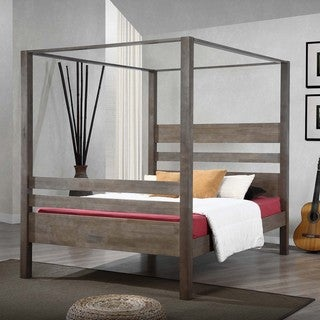 Carbon Loft Marion Charcoal Grey Queen Canopy Bed