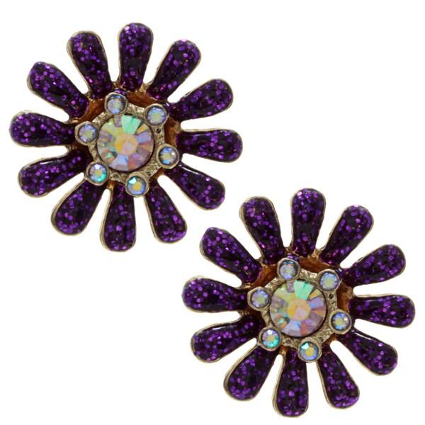Betsey Johnson Purple Flower Drop Earrings