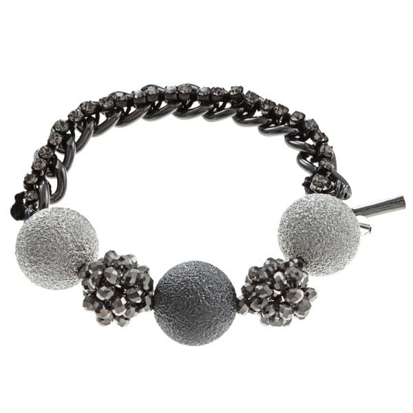 Kenneth Cole Silvertone Crystal Beaded Bracelet