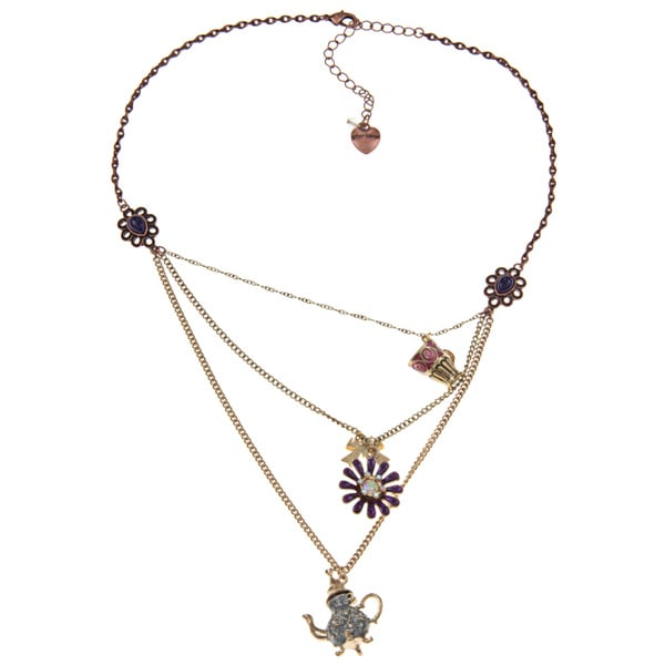 Betsey Johnson Teapot 3-row Fashion Necklace