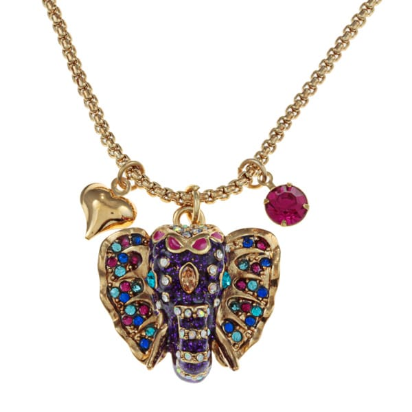 Betsey Johnson Elephant Pendant Fashion Necklace
