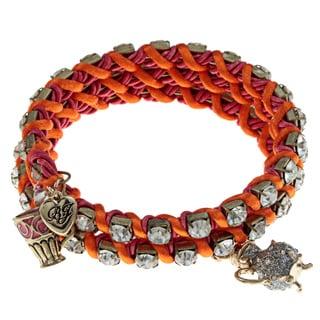 Betsey Johnson Crystal Teacup Coil Wrap Bracelet