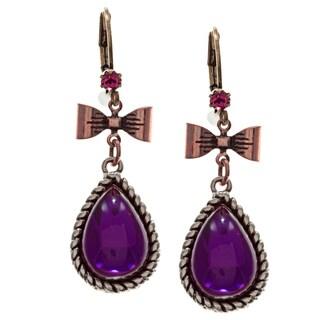 Betsey Johnson Purple Cubic Zirconia Earrings