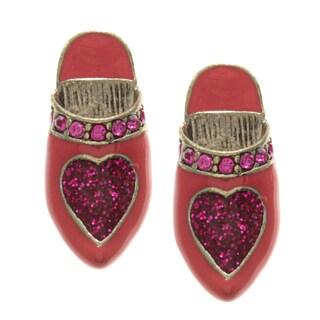 Betsey Johnson Cubic Zirconia Shoe Stud Earrings