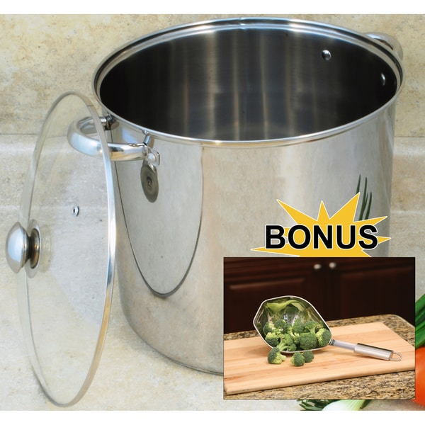 Stainless Steel 16-quart Lidded Stock Pot and Scoop Colander Set