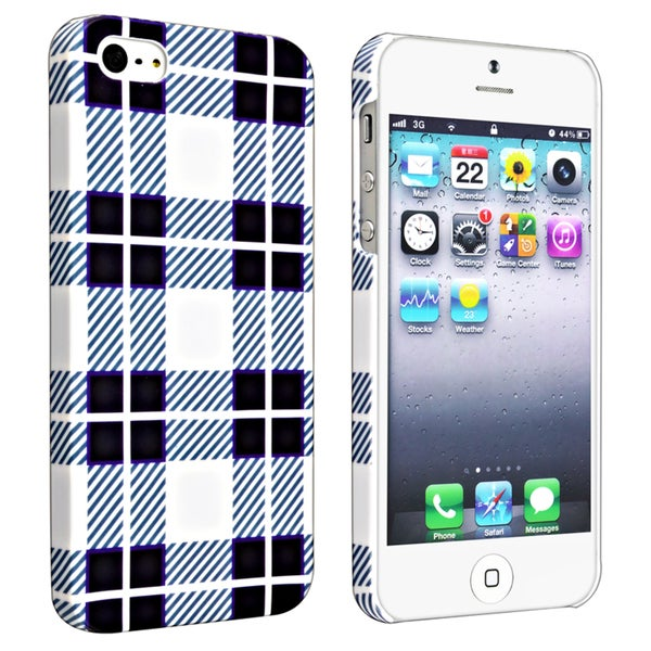 INSTEN Checkered Rear Style 2 Rubber Coated Phone Case for Apple iPhone 5/ 5S/ 5C/ SE