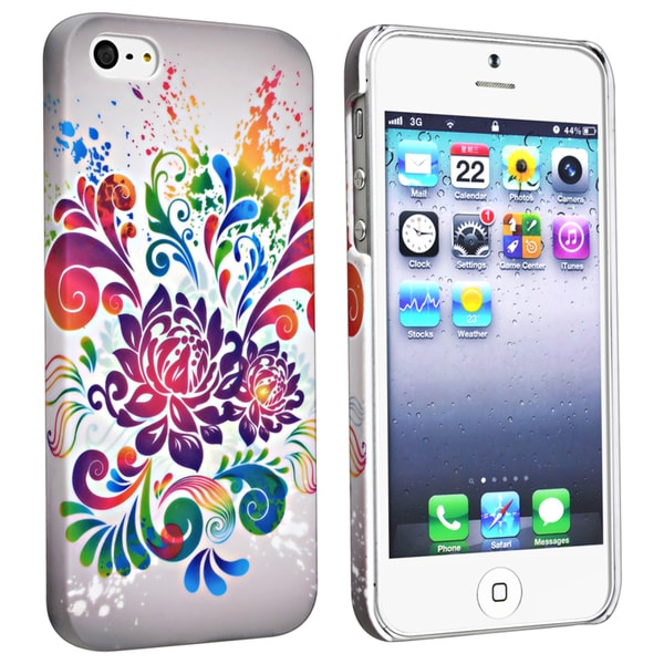 BasAcc Flower Rear Style 40 Rubber Coated Case for Apple iPhone 5