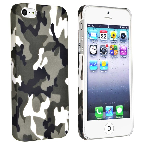 BasAcc Grey Camouflage Rear Rubber Coated Case for Apple iPhone 5