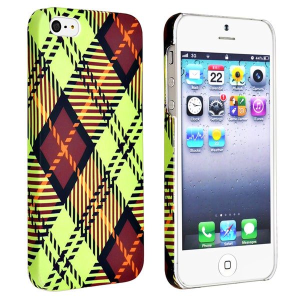 INSTEN Checkered Rear Style 3 Rubber Coated Phone Case Cover for Apple iPhone 5