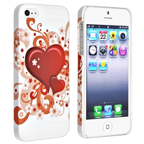 INSTEN White/ Red Hearts Coated Phone Case Cover for Apple iPhone 5/ 5S