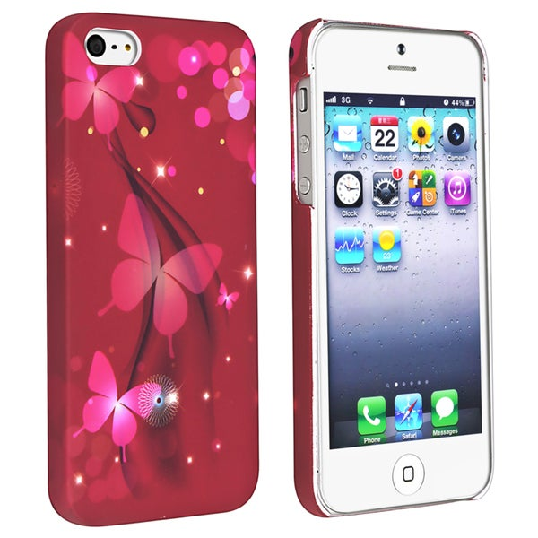 BasAcc Red/ Butterfly Style 14 Rubber Coated Case for Apple iPhone 5