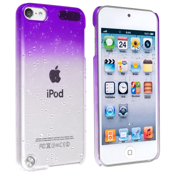 Insten Purple Clear 3D Waterdrop Hard Snap-on Glossy Case Cover For Apple iPod Touch 5th/ 6th Gen