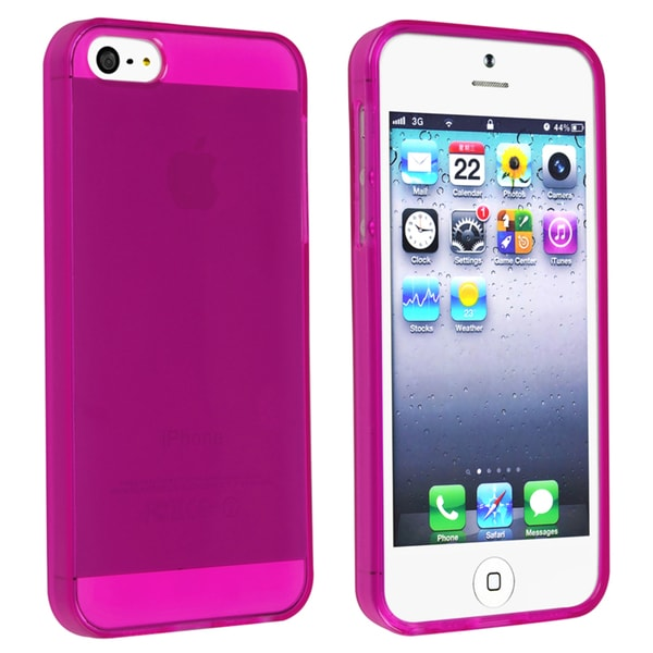 INSTEN Clear Hot Pink TPU Phone Case Cover for Apple iPhone 5/ 5S