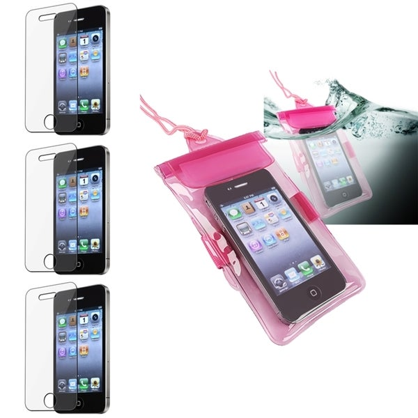 INSTEN Pink Waterproof Phone Case Cover/ Screen Protector for Apple iPhone 4/ 4S