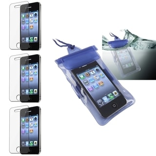 INSTEN Blue Waterproof Phone Case Cover/ Screen Protector for Apple iPhone 4/ 4S