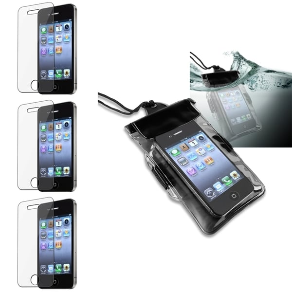 INSTEN Black Waterproof Phone Case Cover/ Screen Protector for Apple iPhone 4/ 4S