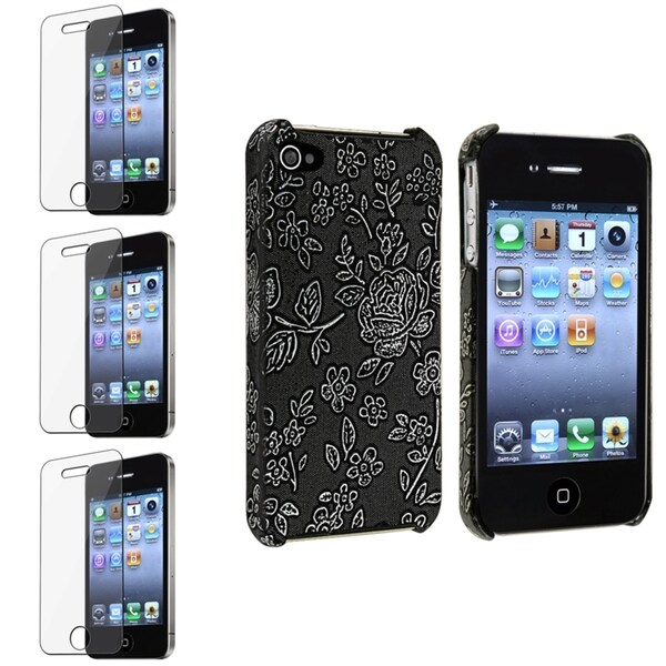 BasAcc Black Flower Case/ Screen Protector for Apple® iPhone 4/ 4S
