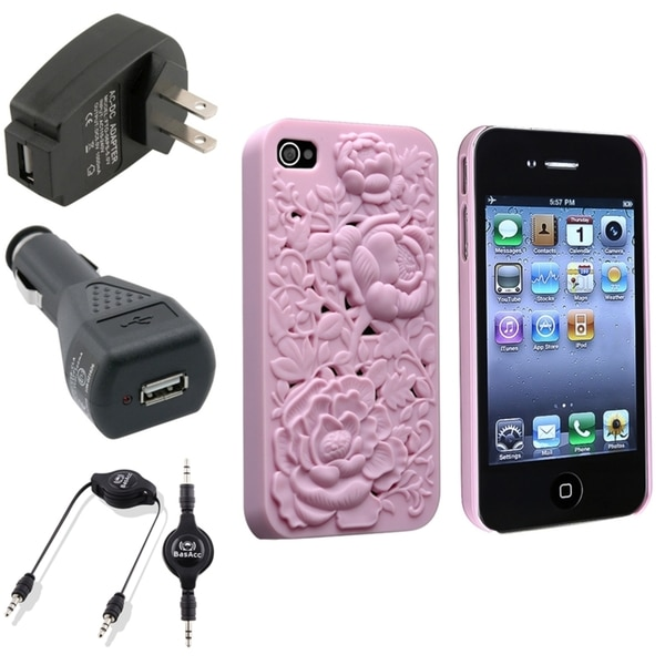 BasAcc Pink Case/ Black Chargers/ Cable for Apple® iPhone 4/ 4S
