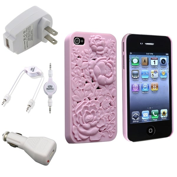 INSTEN Pink Case Cover/ White Chargers/ Cable for Apple iPhone 4/ 4S