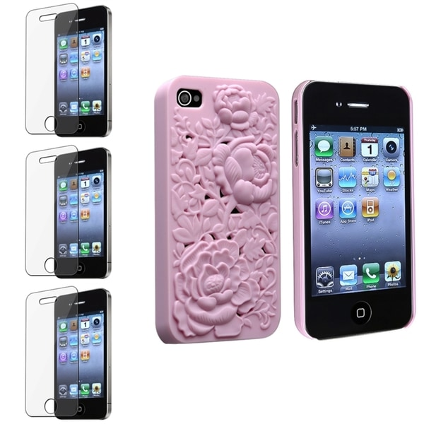 INSTEN Light Pink Rose Phone Case Cover/ Screen Protector for Apple iPhone 4/ 4S