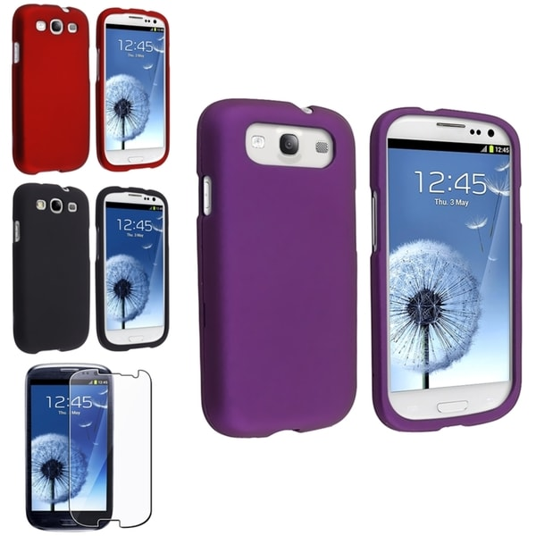 BasAcc Red/ Purple Case/ Screen Protector for Samsung© Galaxy S3