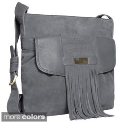 Alla Leather Art Women's 'Agara' Large Fringe Crossbody Bag