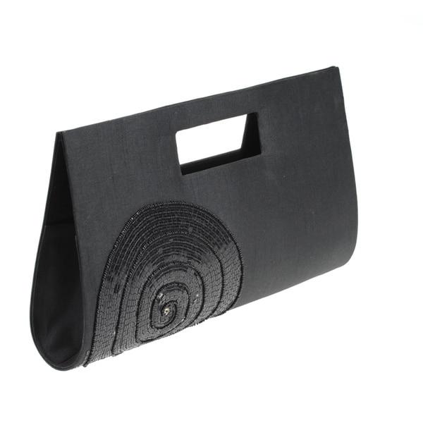 Black Sequin Embroidered Black Circle Handbag (India)