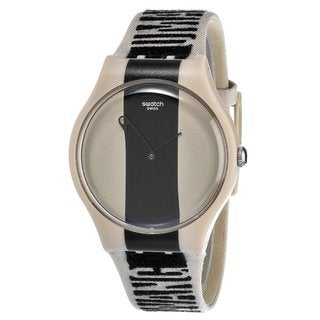 Swatch Women's Plastic Beige and Black Fabric Watch
