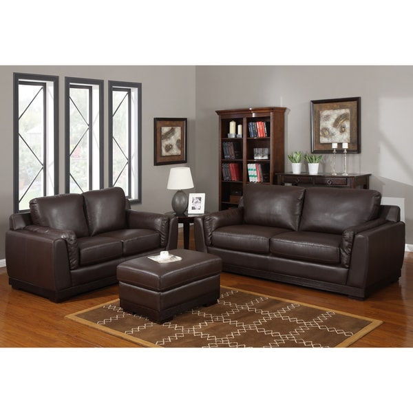 Baxton Studio 'Cronus' Brown Leather Modern Sofa Set