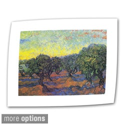 Vincent van Gogh 'Olive Grove with Yellow Sky' Flat Canvas Art