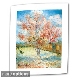 Vincent van Gogh 'Pink Peach Tree' Flat Canvas Art - Multi
