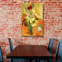 Vincent van Gogh 'Japanese Vase with Roses and Anemones' Wrapped Canvas Art - Multi