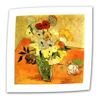 Vincent van Gogh 'Japanese Vase with Roses and Anemones' Flat Canvas Art
