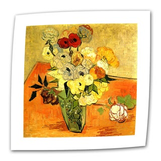 Vincent van Gogh 'Japanese Vase with Roses and Anemones' Flat Canvas Art - Multi