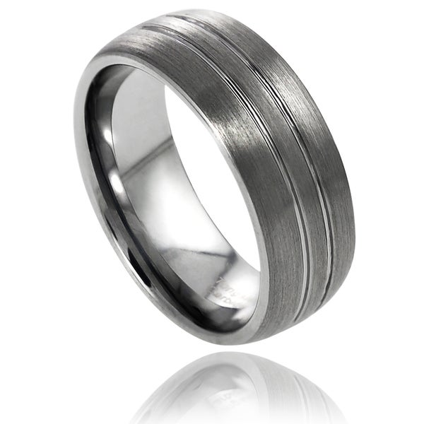 Vance Co. Men's Tungsten Polished Double Grooved Design Band (8 mm)
