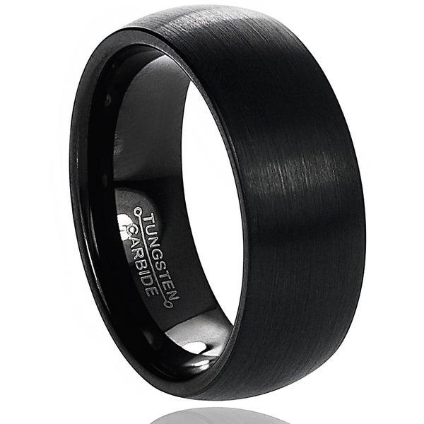 Vance Co. Men's Tungsten Brushed Black Enamel Domed Band (8 mm)