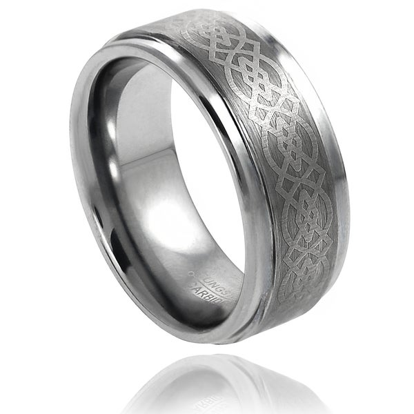 Vance Co. Men's Tungsten Brushed Engraved Celtic Pattern Band (9 mm)