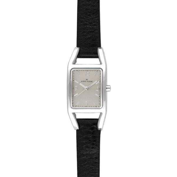 Anne Klein Women's Steel and Black Leather Strap Watch