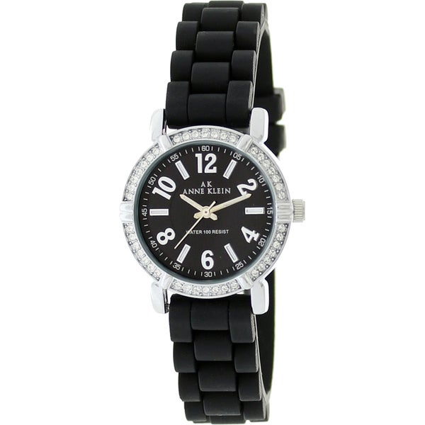 Anne Klein Women's Stainless Steel Black Rubber Strap Watch