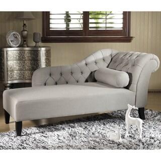 Baxton Studio U0027Aphroditeu0027 Tufted Putty Gray Linen Modern Chaise Lounge