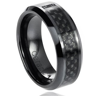 Vance Co. Ceramic Beveled-Edge Black Carbon Fiber Inlay Band (8 mm)