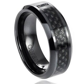 Vance Co. Ceramic Beveled-Edge Black Carbon Fiber Inlay Band (8 mm) (3 options available)