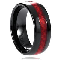 Men's Black Ceramic Red Woven Carbon Fiber Inlay Band