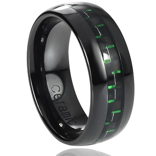 Vance Co. Ceramic Black with Green Carbon Fiber Inlay Band (8 mm)