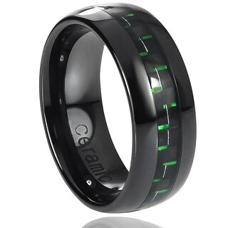 Vance Co. Ceramic Black with Green Carbon Fiber Inlay Band (8 mm) (4 options available)